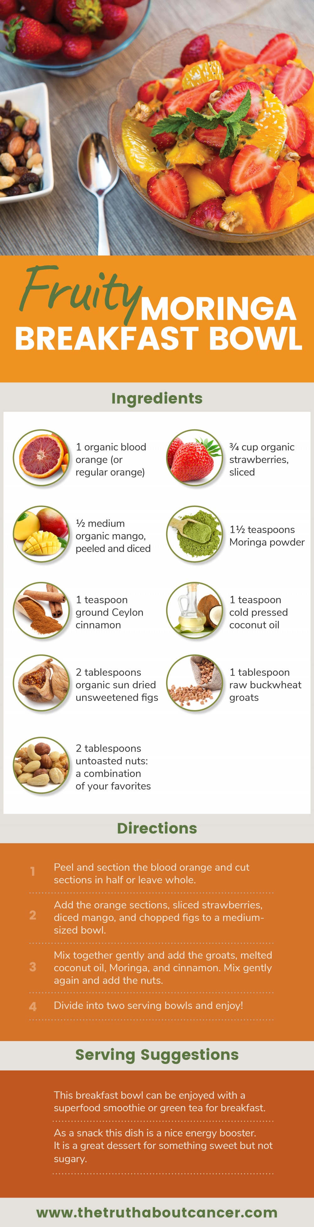 fruity moringa breakfast bowl infographic