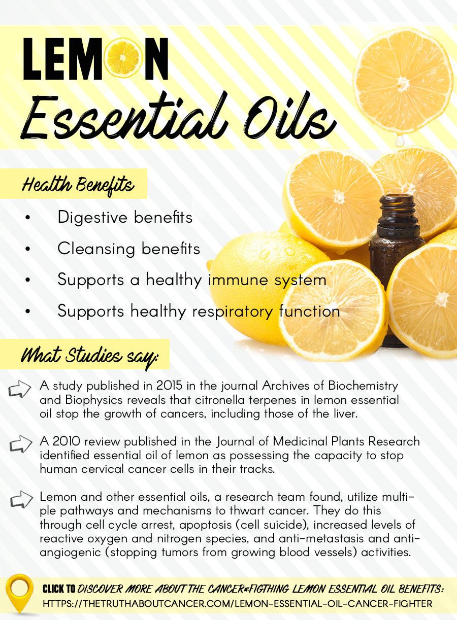 Lemon Essential Oil Offers Multiple Benefits Against Cancer. Click above to find out what studies say and what other health benefits it offers. The Truth About Cancer