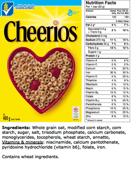 Cheerios Nutrition: Ingredients label