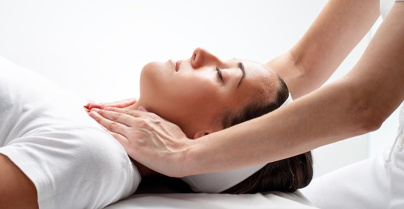 young woman at reiki session