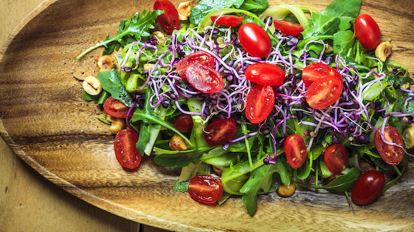 rainbow colored sprouts salad