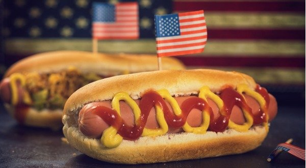 american hot dog with processed meat