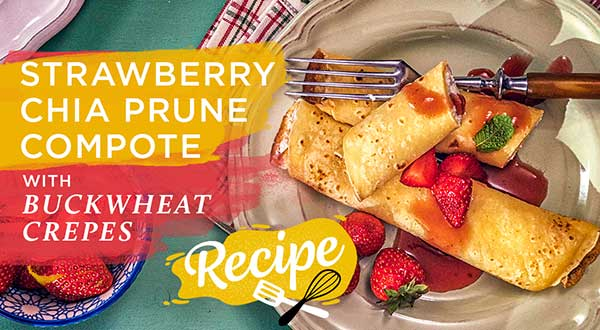 Strawberry Chia Compote Buckwheat Crepes