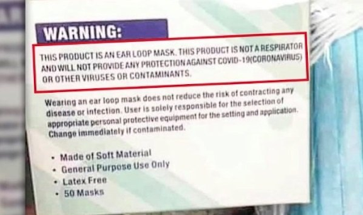 covid mask label